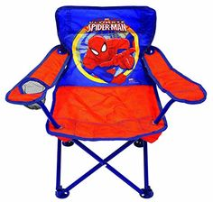 Kids' Outdoor Chairs - Marvel Spiderman Fold N Go Chair ** You can get additional details at the image link. Fashion Designers Names, 1 Samuel 1 27, Baby Superhero, White Leather Dining Chairs, Camping With Kids, Kids Camp, Fun Games For Kids, Toddler Boy Fashion, Toy Storage
