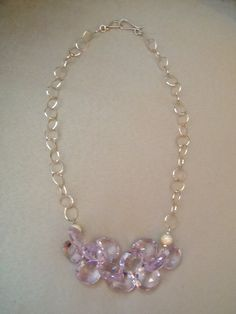 First Frost  Pink Amethyst Statement Necklace
