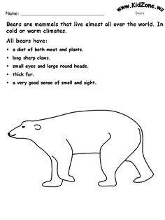 Bear theme worksheets...kidzone