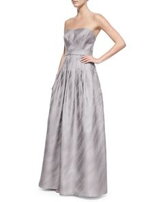 T8A8Z Kay Unger New York Strapless Striped-Skirt Ball Gown