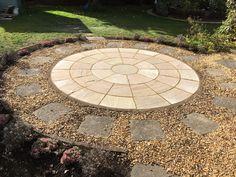 Raj Blend Paving Circle set in Shingle Paving Pattern, Stepping Stones, Pattern Design, Garden Design, Patio, Outdoor Decor, Stair Risers, Landscape Designs, Terrace