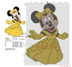 Cross stitch pattern Disney Minnie Princess Belle