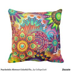 Shop Mandala Abstract Spiritual Psychedelic Trippy Cushion created by flamingprints. Colorful Throw Pillows, Throw Cushions, Soft Pillows, Decorative Throw Pillows, Rainbow Flowers, Flower Pillow, Abstract Flowers, Custom Pillows, Psychedelic