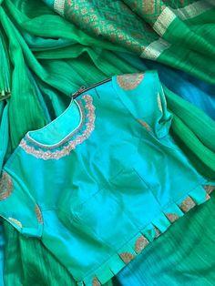 • pinterest: @garimajani • Choli Designs, Saree Blouse Designs, Blouse Patterns, Saree Styles, Blouse Styles, Raw Silk Fabric, Simple Blouse Designs, Designer Silk Sarees, Collor