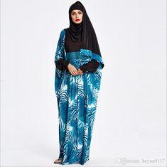 Fashion Ladies Blue Bat-sleeve Long Maxi Dress Islamic Women s Clothing  Dubai Arabic Muslim Hijab Abaya + Scarf 7fd2ac5fdc85