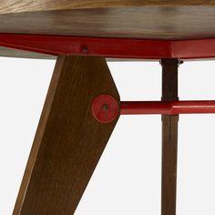 Lot 109: Jean  Prouvé. Guéridon, model 401. 1949, oak, enameled steel. 44¾ dia x 27½ h in. estimate: $20,000–30,000. Provenance: Michael Benevento, New York | Collection of Dimitri Levas