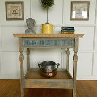 Butternut Kitchen Island with a concrete top and a concrete inset molding on counter top edge. Decor, Counter Top Edges, Small Kitchen Island, Small Kitchen, Kitchen Decor, Cabin Decor, Table, Entryway Tables, Kitchen