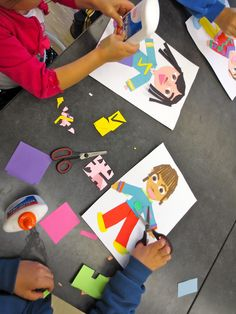 First Grade Zilker artists are making their self portraits using paper and glue.  We have discussed symmetry, and are folding our papers in half so that we get two shapes exactly alike when we cut to achieve perfect symmetry.  Students are having a fun time adding small details to their clothing, like pockets, buttons, patterns, zippers, and belts.  These are always a favorite project for parents! Each portrait has a distinct personality, just like its creator!