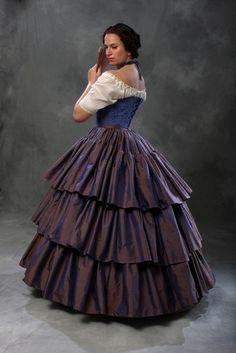 c1860 Civil War Debutante Ball Blue Silk Ruffled by PeriodCorsets, $855.00