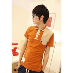 $13.53 Splicing Tang Suit Short Sleeves Casual Men's Cotton Blend Retro Style T-Shirt
