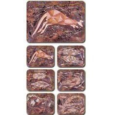 Aboriginal Design Injalak, Walaroo Hunting placemats and coasters, set of 6