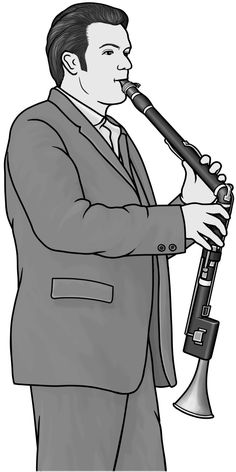 [ bassethorn ] woodwind instrument. grayscale images