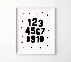 Numbers Printable Art, Numbers Nursery Art, Kids Numbers Poster, Black And White Playroom Print *Instant Download, Buy 2 Get 1 Free* Nursery Wall Decor, Nursery Prints, Nursery Art, Wall Prints, Printable Numbers, Printable Quotes, Printable Art, Printing Websites, Online Printing