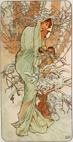 Alphonse Mucha. Winter, 1896.From The Seasons Series. Color lithograph, 28 x 14.5cm.