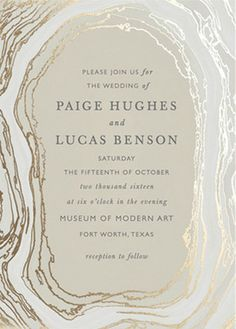'Gilt Agate' invitation from Minted featured in this Neutral + Metallic wedding inspiration