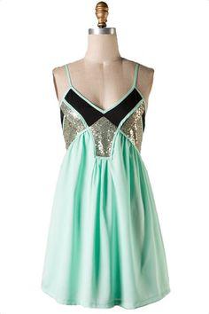 Simmer Down Sequin Dress - Mint