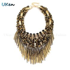 Aliexpress.com : Buy Fashion Necklaces For Women 2015 Handmade Beads Cluster Weave Gold Chain Resin Statement Necklaces & Pendants Vintage Jewelry from Reliable Pendant Necklaces suppliers on UKen Fashion   Alibaba Group