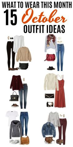 Get some inspiration for what to wear this month with these 15 October Outfit Ideas. From casual to dressy outfits, you'll get some serious fall fashion inspiration. With our What to Wear This Month series, you'll always have fresh outfit ideas ready for Fresh Outfits, Casual Fall Outfits, Early Fall Outfits, Casual Winter, Fall Fashion Outfits, Casual Clothes, Fall Winter Outfits, Holiday Outfits, Pretty Outfits