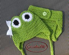 Green Crocheted BABY GIRLS FROG Hat & Diaper Cover by Grandmabilt, $26.00