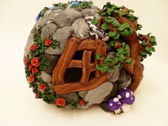 Fairy House 2 by FlyingFrogCreations It has a 6-inch diameter and is approximately 5 inches tall.