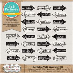 Scribble Talk Arrows v.01 - $3.65 : Peppermint Creative, Digital Scrapbook Supplies
