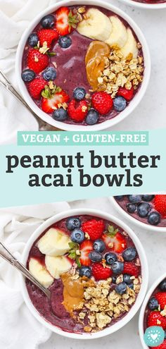 Peanut Butter Acai Bowls - Thich, creamy acai bowls made with plenty of berries and peanut butter. This healthy breakfast or snack is perfect any time! (Gluten-Free, Vegan) // Acai bowl recipe // healthy breakfast // vegan breakfast // smoothie bowl recipe // #breakfast #vegan #peanutbutter #acaibowl #smoothiebowl Raw Vegan Breakfast, Vegan Breakfast Smoothie, Vegan Smoothies, Healthy Breakfast Recipes, Brunch Recipes, Acai Bowl Recipes Healthy, Yummy Smoothie Recipes, Raw Food Recipes, Healthy Waffles