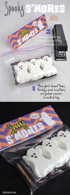 Spooky S'mores Kits with Free Printable  - so simple to make. Place marshmallow ghost Peeps, Hershey's snack size bars and graham crackers in a sandwich bag. Add cute printable on top and give to as a sweet Halloween treat!