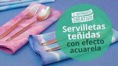 Cómo teñir servilletas con efecto acuarela - How to dye napkins with wat...