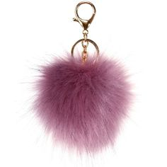 Mauve Faux Pom-Pom Keychain ($6.90) ❤ liked on Polyvore featuring accessories, fob key chain and pom pom key chain