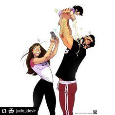 #Repost @jude_devir • • • • • • Say Cheese! 😅😟 Shop: www.yehudadevir.com  Support us: www.patreon.com/yehudadevir  #judedevir #mayadevir #arieldevir #oneofthosedays #ilovemywife #ilovemydaughter Cute Couple Comics, Couples Comics, Cute Couple Art, Funny Couples, Drawing Cartoon Faces, Kawaii Drawings, Maya, Humour Couple, Yehuda Devir