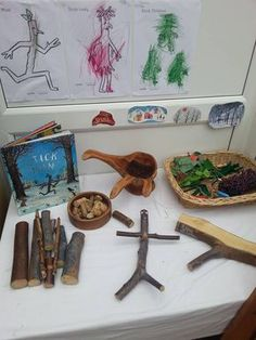 Retelling/Provocation for Book, Stick Man by Julia Donaldson (from Worm's Eye-View) Nursery Activities, Literacy Activities, Play Based Learning, Early Learning, Julia Donaldson Books, Book Area, Story Sack, Prop Box, Tree Study