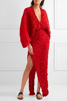 Juan Carlos Obando - Crinkled Plissé-silk Maxi Dress - Red - US12
