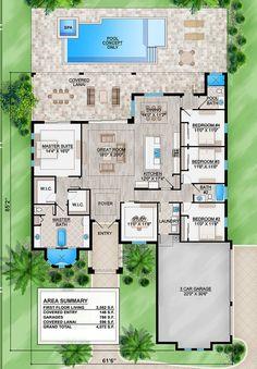 Florida Plan: Square Feet, 4 Bedrooms, 3 Bathrooms – - Home & DIY Florida House Plans, Pool House Plans, Sims House Plans, House Layout Plans, New House Plans, Dream House Plans, Modern House Plans, House Layouts, Florida Home