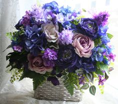 lilac and hydrangea arrangements | Stylish Blue and Purple Floral Arrangement of Roses, Hydrangea, and ...