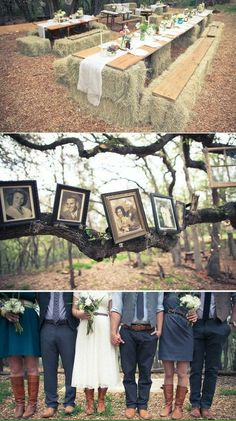 country wedding- Like the hay tables/seating- maybe near the bonfire/ out on the lawn?