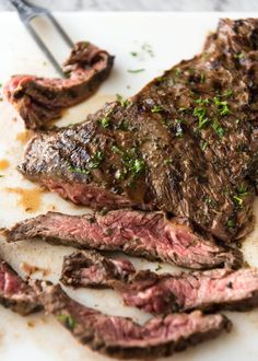 Carne Asada grilled to perfect, pink inside, marinated in a citrusy, garlicky authentic Carne Asada marinade. www.recipetineats.com