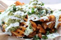"""""""Wachos"""" from the Lobos Food Truck in Los Angeles Waffer fries nacho style"""