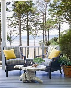 The Coastal Living House w-Carriage House - OCEANFRONT - Washington Coast : seabrookcottagerentals - pp: Porch sitting on the coast