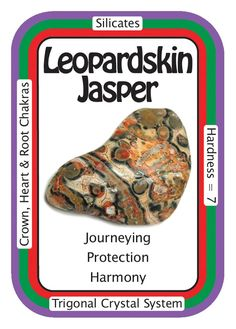 °Leopardskin Jasper ~ I treat myself & others with gentleness & kindness. A very nurturing stone, Leopardskin Jasper is good for protection, evoking passion, & for...
