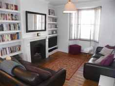I found this on Rightmove, white living room, alcove shelving