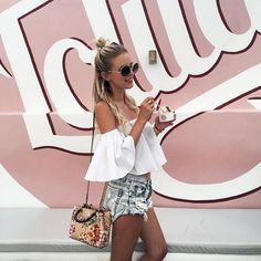Pin: @juliamay23 off the shoulder top with jean shorts