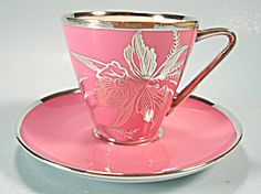 Rosenthal Type Sterling Silver Overlay Demi Cup Saucer
