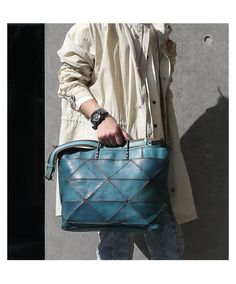 """Distressed Leather 16"""" Tote Briefcase Bag 