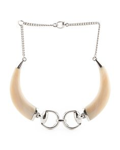 Made In Italy Sterling Silver Horsebit White Horn Necklace