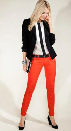 In my closet: red pants, black wedges, white/black top, blazer