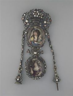 Hyacinthe Rigaud, a chatelaine with two enameled medallions of young ladies