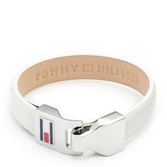 Stylish leather buckle bracelet. White leather strap with eye-catching buckle. Tommy Hilfiger enamel flag on the buckle, brand lettering embossed inside the leather strap.
