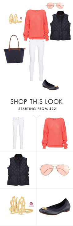 """""""Coral and navy"""" by sadiejoyce ❤ liked on Polyvore featuring rag & bone, GANT, J.Crew, Tory Burch, Longchamp, women's clothing, women, female, woman and misses"""