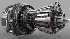 Turbo Fan Jet Engine, Cade Jacobs on ArtStation at https://www.artstation.com/artwork/turbo-fan-jet-engine