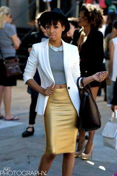 gold skirt, crop top, white blazer #DopeOutfit